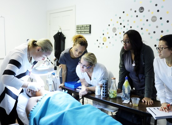 Elaine teaching esthetician students